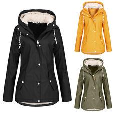 Womens Waterproof Jacket Raincoat Fleece Ladies Outdoor Hooded Jacket Coat Thick