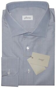 $520 NEW BRIONI PARIOLI BROWN BLUETTE OXFORD COTTON FITTED FIT DRESS SHIRT 48 19