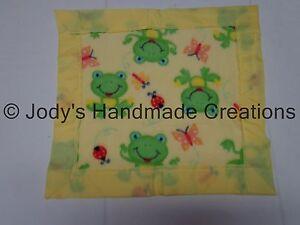 HANDMADE MINI BABY FLEECE SECURITY BLANKET - FROGS / YELLOW EDGE 14 X 15