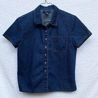 Charter Club Women's Size 8 Denim Blue Blouse Shirt Top Cotton