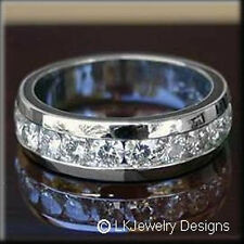 3.90 CT MOISSANITE ROUND FOREVER ONE GHI ETERNITY CHANNEL WEDDING RING