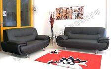 PASSERO BLACK FAUX LEATHER REGULAR + LARGE SOFA (NINA) 3+2 Two Pieces Suite Sofa