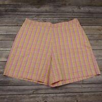 "St Johns Bay Bermuda Shorts Size 14 Pink Yellow Plaid High Rise 34"" Waistband"