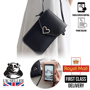 Touchable PU Leather Cross Body Mobile Phone Shoulder Change Bag Purse UK