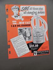 1950 Chisholm Industries C&B Oil Changer Catalog Sheet Service Station Vintage