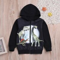 Children Kids Baby Boys Girls Long Sleeve Cartoon Hooded Coat Jacket Zipper Tops