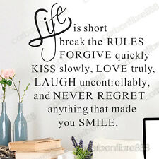 Life Is Short Smile Wall Quote Stickers Art Decal Vinyl Home Decor Mural Paper