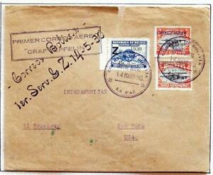 BOLIVIA to BRAZIL to USA 1930 ZEPPELIN, Airship SAF Flight Airmail Cover,Nutley