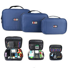 3 x BUBM ACCESORIES STORAGE CARRY BAG CASE FOR USB cable memory card blue
