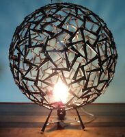 Signed Corey Ellis Art Modern Round Steel Sphere Sculpture LAMP Geometric MCM