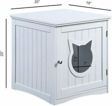 Sweet Barks Nightstand Pet House, Litter Box Furniture Indoor Pet Crate, White