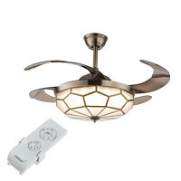 """42"""" Invisible Ceiling Fan Light LED Crystal Chandelier 3 Speed 3 Color w/ Remote"""