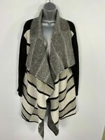 WOMEN MARKS&SPENCER BLACK MIX STRIPE KNITTED OPEN FRONT WATERFALL CARDIGAN LARGE