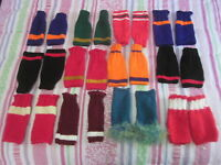 Hand Wrist Warmers Fingerless Mittens Acrylic Red w Gold Hand Knit Team Color