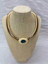 Beautiful Vtg YSL Yves Saint Laurent Blue Crystal Enamel Flexible necklace