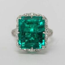 Green Emerald cut cocktail Solitaire Party Ring solid 925 sterling silver Flower