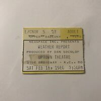 Weather Report Uptown Theatre Kansas City MO Concert Ticket Stub Vintage 1980