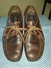 Ecco Mens Brown soft Leather Deck Shoes EU41 UK7 in excellent condition.