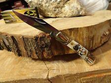"MUSTANG U.S.A 3 1/2"" C POCKET KNIFE GENUINE MOJAVE BONE HANDLE LOCKBACK 440 SS"