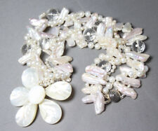 """Pearl Shell & Quartz Crystal Necklace 3 strand Silk Knotted 18"""" long Flowers"""