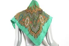 "LIBERTY OF LONDON VINTAGE Collectible Green/Orange Silk Mosaic Scarf 27"" x 27"""