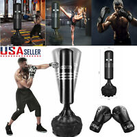 Heavy Boxing Punching Bag Free Standing Boxing Gloves Training Kickboxing MMA