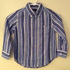 NEW Ralph Lauren Designer Boy's Blue White Long Sleeve Button Down Shirt 4 4T