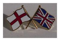 StGeorge and Union Jack flags badge crossed flag enamel doube pin badge