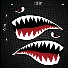 "Pair of 18"" Fighter Flying Tigers Shark Teeth Mouth w/ Eye Die-cut Vinyl Decals"