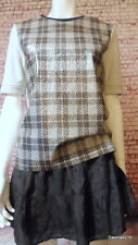 funky vinyl plastic check short sleeve grey check top River island 8 10