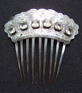 Early Victorian Engraved Coin Silver Hair Comb Hair Accessory