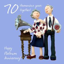Happy 70ème anniversaire de platine carte de vœux un ou deux forfaitaire Sainte maquereau carte
