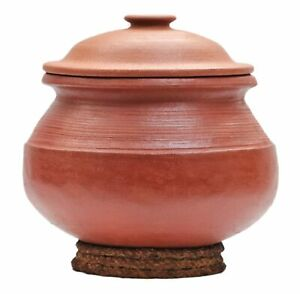 Unglazed Clay Handi/Earthen Pot for Cooking with Lid (Red, 3 L)