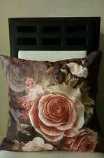 """Beautiful Chocolate Cottage Shabby Chic Roses Throw Pillow Cover 18"""" US Seller"""