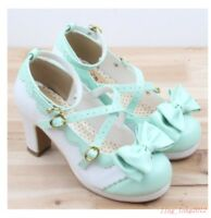 Womens Sweet Girls Bowknot Cross Strap Cute Round Toe Lolita Mary Janes Shoes