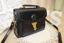 Urban Outfitters Chiltern 90 s Vintage Cuir Noir Large Satchel Cross Body Sac