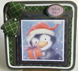 86: Handmade Large Kanban Penguin Xmas Card topper.