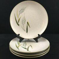Set of 4 VTG Salad Plates Sears Wild Rice Green Stoneware Wheat 4103 Japan