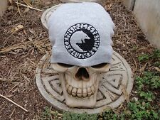 wolf circle runes gray embroiderd beanie hat thors hammer asatru norse