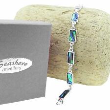 "Paua Abalone Shell Bracelet Rectangle Link Silver Fashion Jewellery 7.5"" 19cm"