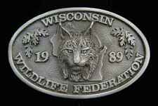 Lynx Belt Buckle Nice! 1989 Wisconsin Wildlife Fed.