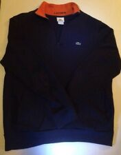 LACOSTE Men's Half Zip Pullover Sweater Size 6 Large Blue 100% Cotton