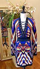 NWT BALMAIN SS17 Multi-Colored Inca Pattern Dress $2400 - Small