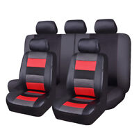 Universal  Car Seat Covers Set PU Leather Mesh Breathable Sport  Black Red