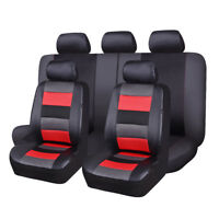 Car Seat Covers Set PU leather mesh breathable sport universal  black red SUV