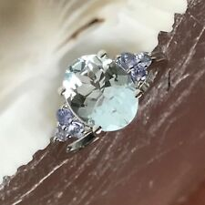 AAA Genuine 2ct Aquamarine, Tanzanite 925 Sterling Silver Sparkling Ring sz 7