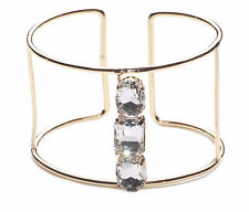 GLAM SPARKLY CHUNKY GOLD BANGLE DIAMANTE FEATURES, ART DECO OPEN-ENDED (NS3)