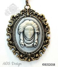 Cameo Necklace Victorian Madame Leota Haunted Mansion Tombstone Bust Rolo Chain