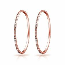 Rose Gold 50mm Hoop Earrings with Crystals from Swarovski®