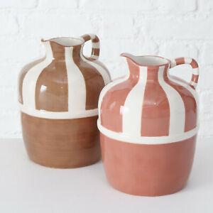 Antique Striped Brown Ancient Roman Clay Style Decorative Pitcher Jug Vase Art